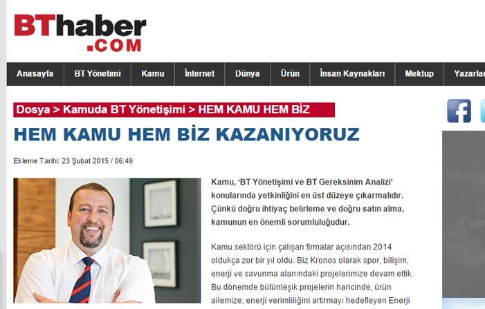 PUBLICATION OF INTERVIEW WITH BT HABER